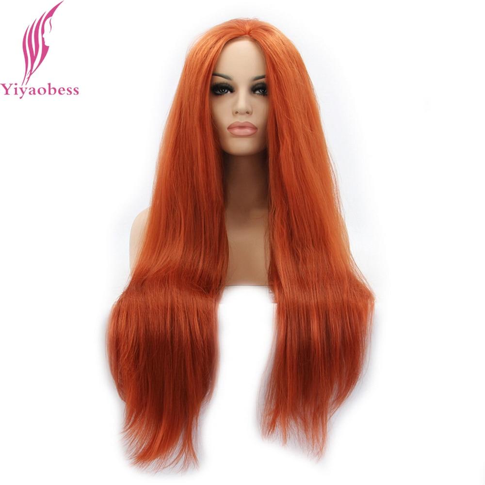 Yiyaobess Straight Syntetisk Snörning Fram Paryk Lång Orange Hår - Syntetiskt hår