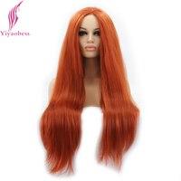 Yiyaobess recta peluca del frente del cordón sintético largo orange hair heat resistant pelucas frontales del cordón para las mujeres afroamericanas
