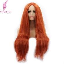 Yiyaobess مستقيم مقاومة للحرارة الاصطناعية الدانتيل الجبهة باروكة شعر طويل البرتقال افريقى الرباط الباروكات للنساء