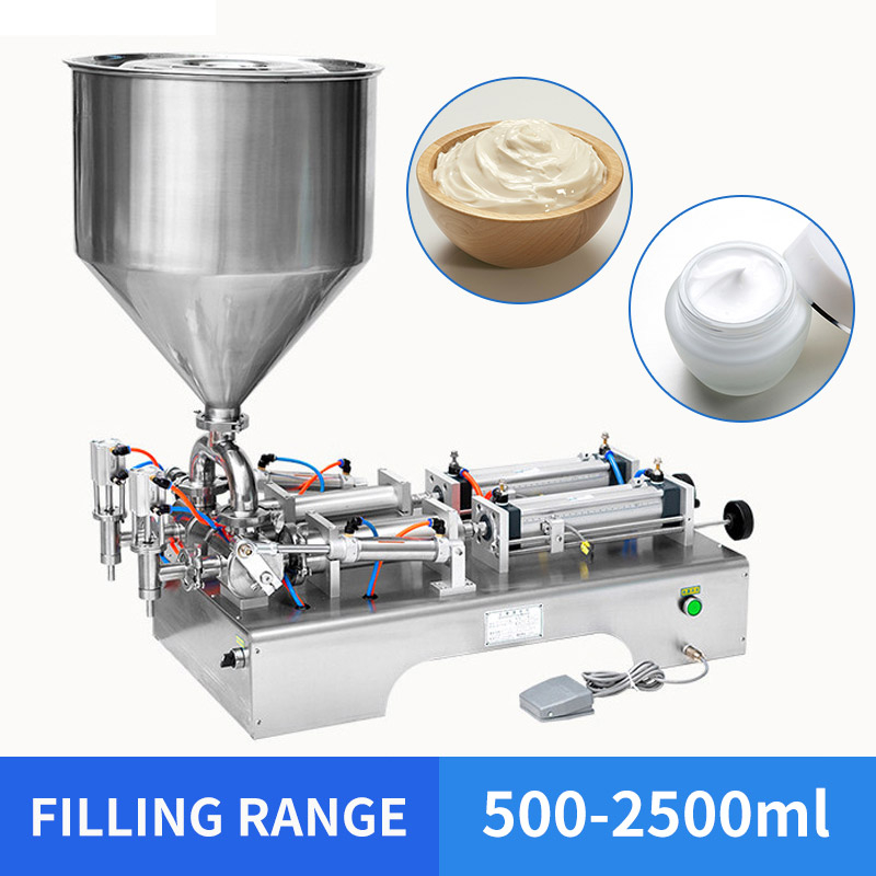 OLOEY 500-2500ml Horizontal Double Heads Cream Shampoo Filling Machine Cosmetic Paste Filling Machine 950*420*380mm