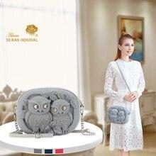 Adamo 3D Bag Original The Couple Owls of Cara & Dave Sling  Luxury Brand Women Shoulder High Quality Womens Handbags