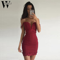 WYHHCJ Women Summer Dress Sexy V Neck Sleeveless Vestidos 2017 Mini Red Black Lace Hollow Out