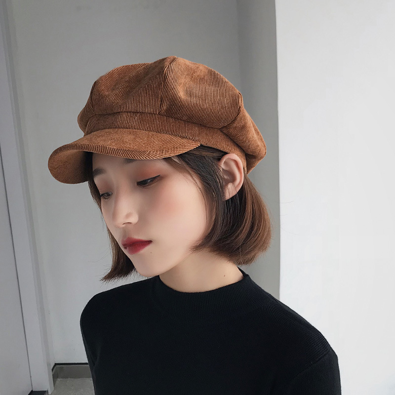 Fashion Autumn and Winter Solid Color Corduroy Octagonal Hat Painter Hat Female Newsboy Hat Caps Winter Hat Women Beret Hats