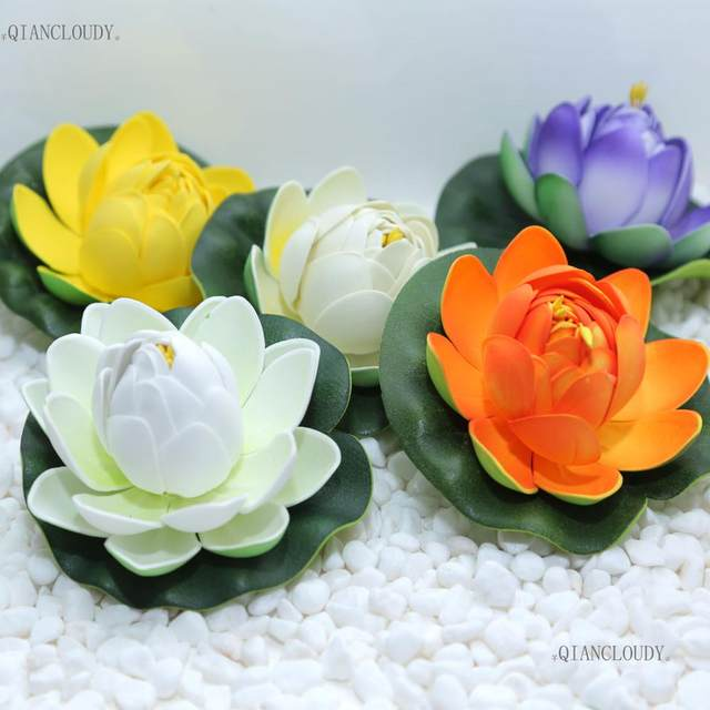 Online shop 10 pieces artificial fake lotus flowers buds leaves 10 pieces artificial fake lotus flowers buds leaves water lilies floating pond flowers pool plants wedding decoration c97 mightylinksfo
