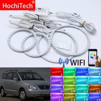 Wifi Wireless RGB Multi-Color LED Angel Eye Halo Rings Day Light DRL for SsangYong Rodius 2004 2005 2006 2007 2008 2009-2013