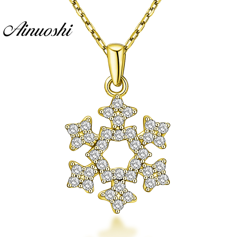 AINUOSHI 10K Solid Yellow Gold Pendant Snowflake Pendant SONA Diamond Women Men Gold Jewelry Delicate Flower Separate Pendant tevise fashion mechanical watches stainless steel band wristwatches men luxury brand watch waterproof gold silver man clock gift
