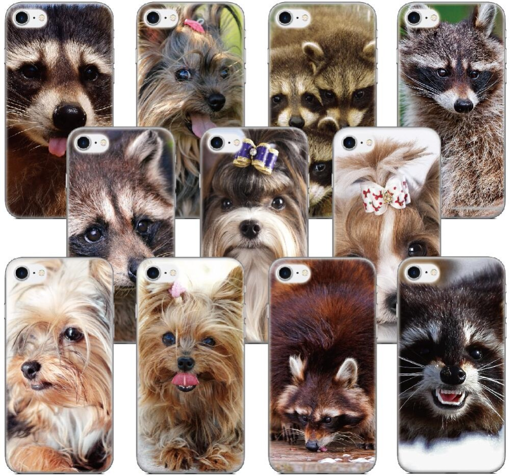 Raccoon Yorkshire Terrier Shell Cover For iphone 10 X 4 4S 5 5S SE 5C 6 6S 7 8 Plus For iPod Touch 5 6 Phone Case Coque Bumper
