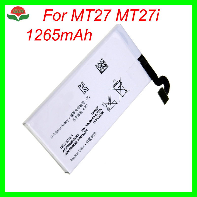 ISUN 1265mAh AGPB009-A002 <font><b>Battery</b></font> Replacement For Sony Ericsson Xperia <font><b>Sola</b></font> mt27i MT27 MT27i Mobile Phone <font><b>Battery</b></font> image