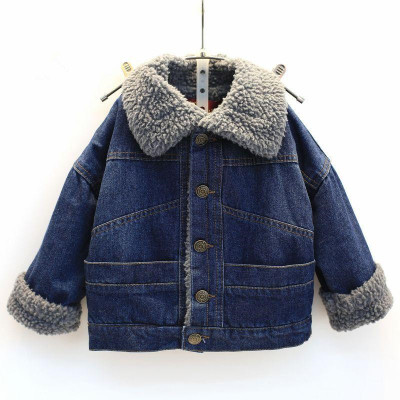 Autumn and winter children plus velvet denim jacket single-breasted boys and girls warm fashion jacket