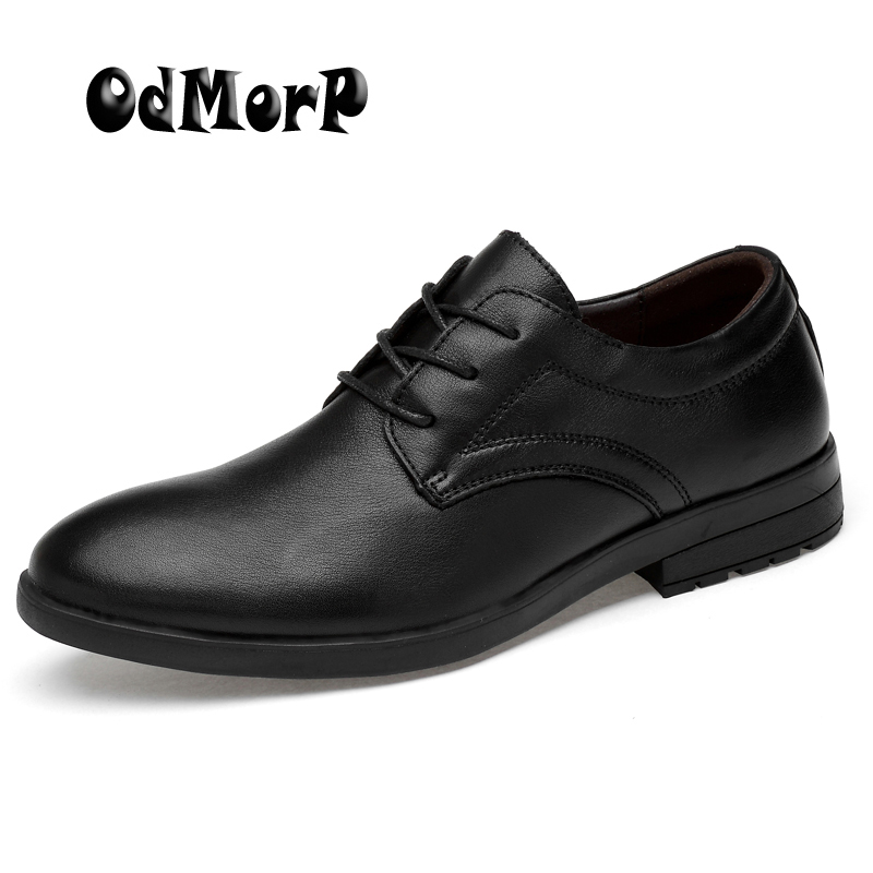 ODMORP Men Shoes Black Leather Shoes Business Man Official Formal Shoes Classic Lace Up Oxfords Mens Flats Big Size 38-45