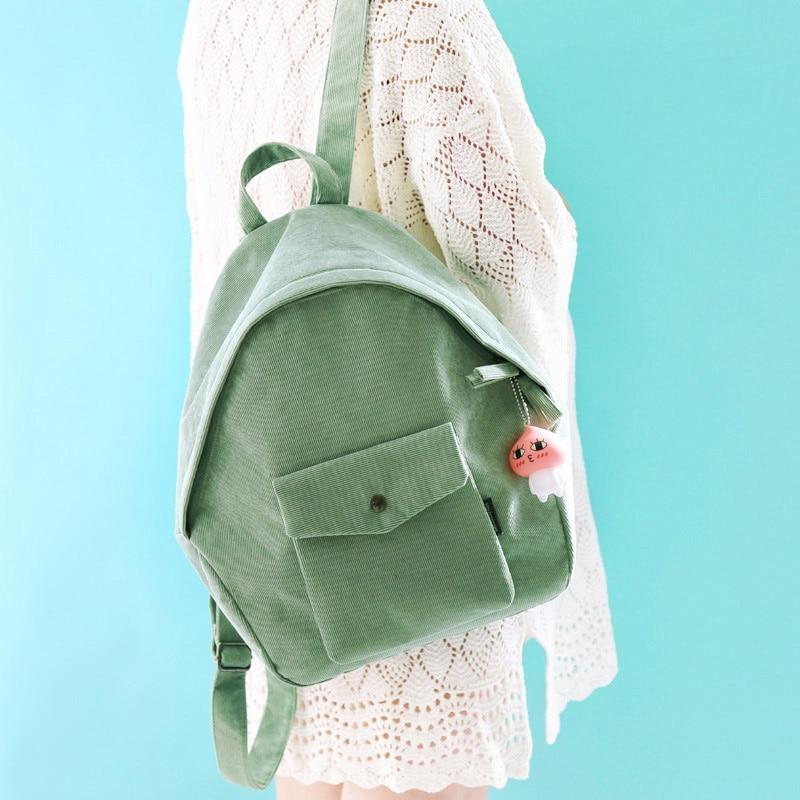 Solid Color Corduroy Backpack 2018 Women Korean Simple Fashion Canvas Backpacks Teenage Student Girl Schoolbag Mochila Ruckasck