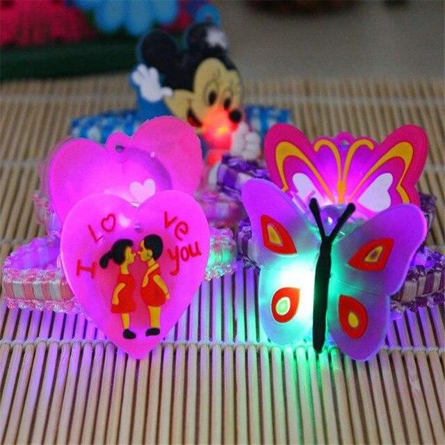 plastic LED Rubber band for Headwear Head decoration 24pcs/lot flashing Cartoon Headrope headdress flower bracelet toys