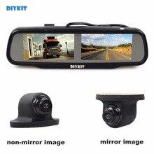 DIYKIT Dual Screen 4.3 polegada TFT LCD Rear View Monitor de Espelho de Carro + HD Car Câmara de Visão Traseira para Rear/Frente/Vista Lateral