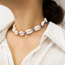 Ailodo Colorful Rope Chain Natural Seashell Choker Necklace Women Shell Collar Necklace Choker Summer Beach Jewelry Gift LD189