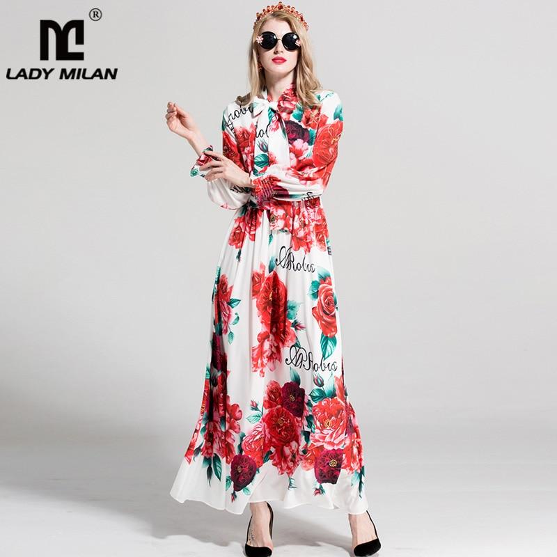 2018 Womens Long Sleeves Floral Printed Bow Detailing Fashion Casual Long Designer Holiday Runway Dresses