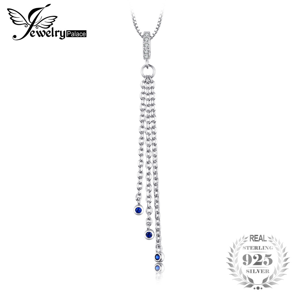Fashion Created Blue Sapphire Tassel Pendants For Women 925 Sterling Silver Brand Fine Jewelry Not Include A Chain