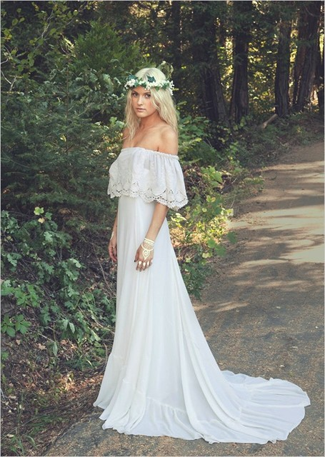 Off White Chiffon Beach Wedding Dress - Short Hair Fashions