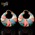 Trendy Indian Earrings Big Size Style Jewelry For Women Wholesale Gold Plated Nigerian Wedding African Beads Hoop Earrings