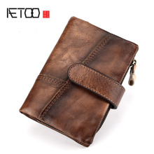 AETOO New leather retro men and women cross section color wallet first layer anti-magnetic