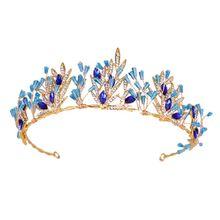 Bride Crown Golden Blue Crystal Tiara Women Bridal Wedding Headwear Headband Decoration Charming Party Gifts