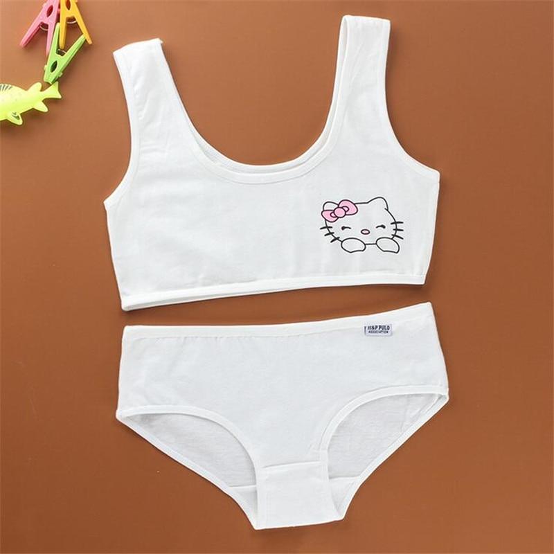 Cotton Training Bra Set for Girls Bras Children Bra for Teenagers Lingerie Teen Bra Set Teenage Underwear Girls 8-12 Years Old lace sheer lingerie bra set