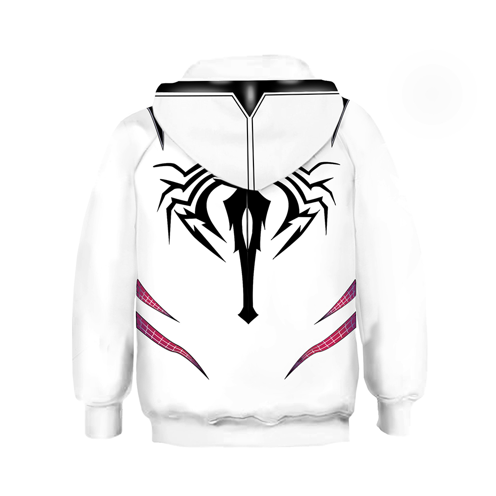 Girls Gwen Stacy Hoodie Cosplay Spider Gwen Stacy Costume 3D Pullover Jacket Hooded Sweatshirt Coat Child