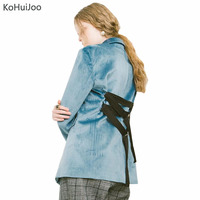 KoHuiJoo Women Velvet Blazer Jackets 2019 Spring Blue Single Breasted Back Lace up Fashion Suit Blazers Ladies Elegant Blazer