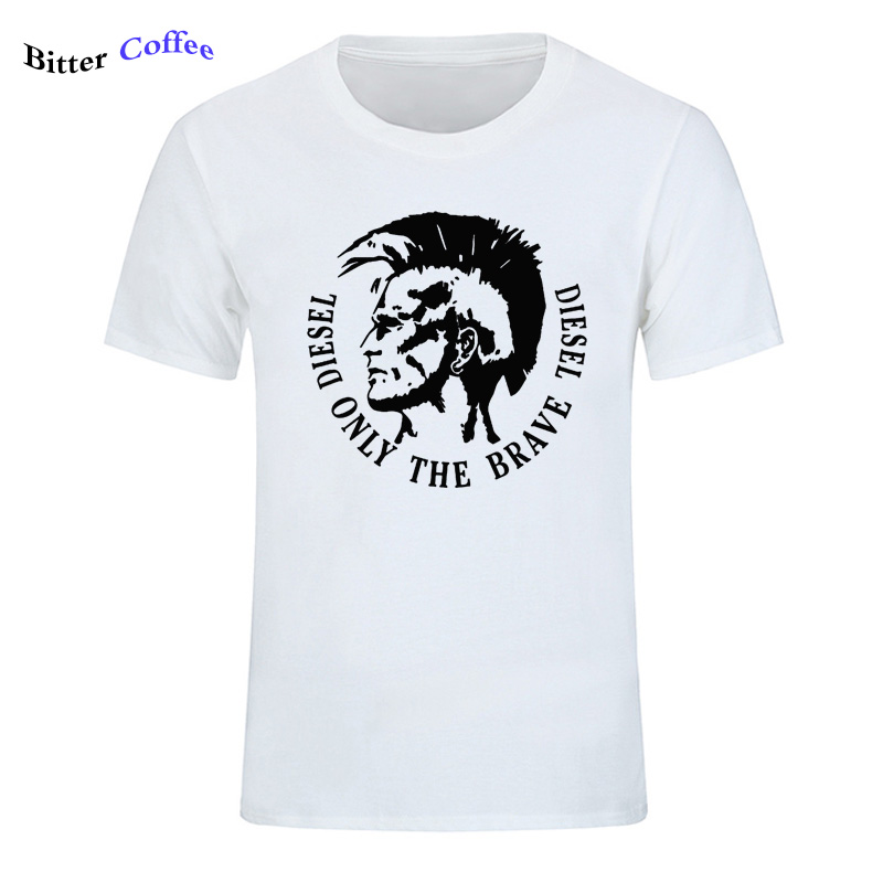NEW Diesel only the brave Diesel print men tshirt funny fashion T shirts cool shirt for men men casual top Harajuku T-shirt
