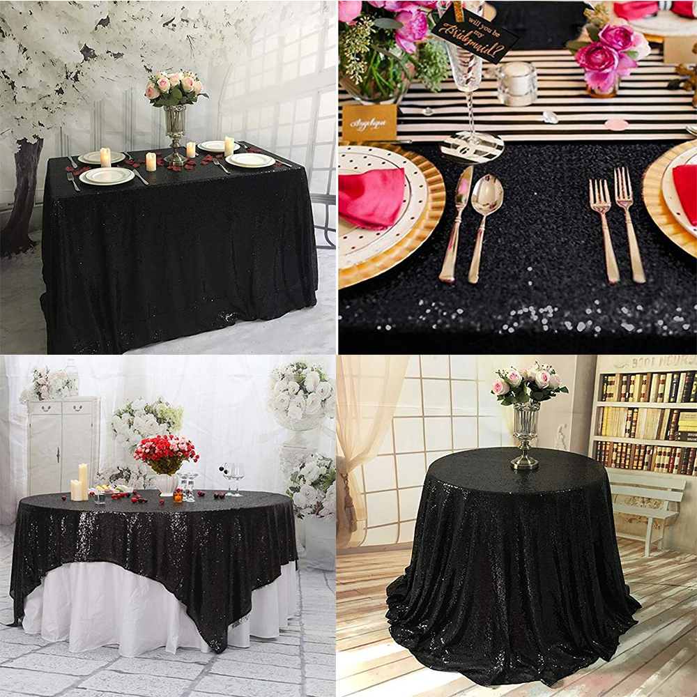 us $130.0 |10pcs 50''x50'' black square tablecloth sequin overlays,  runners, gatsby wedding, glam wedding decor, vintage weddings -in  tablecloths from