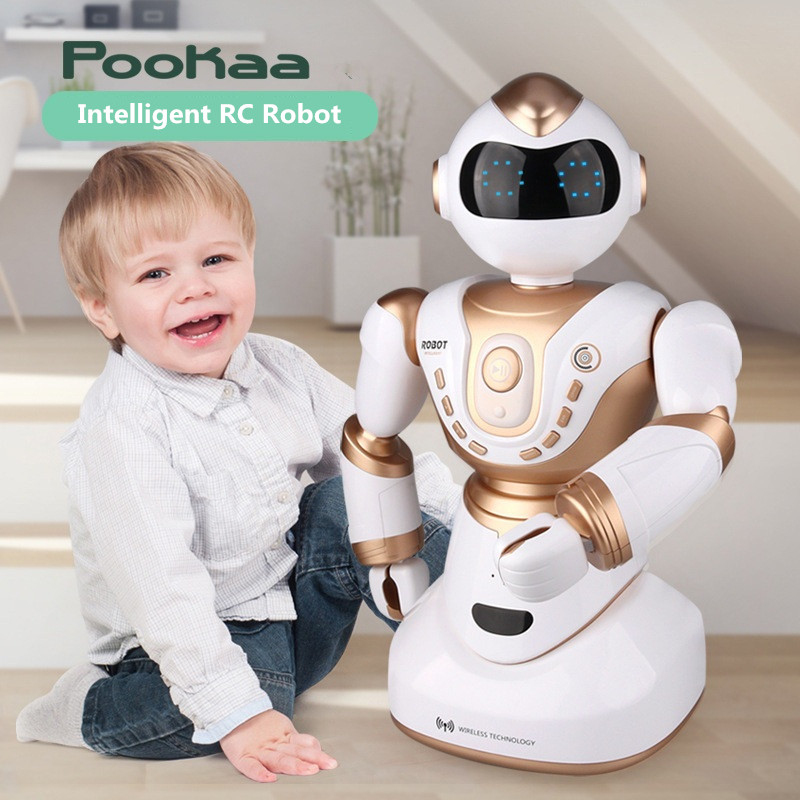 2018 grand Robot intelligent RC 2850 2.4G 51 CM tête main LED expression vocale dialogue intelligent Sport rc robot jouet avec lumières