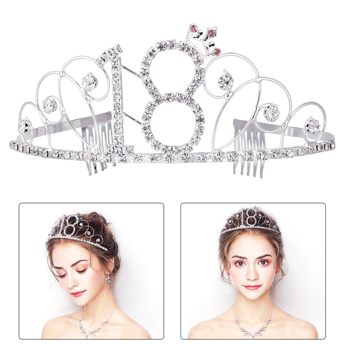 PIXNOR No.18 Crystal Birthday Tiara Princess Crown Hair