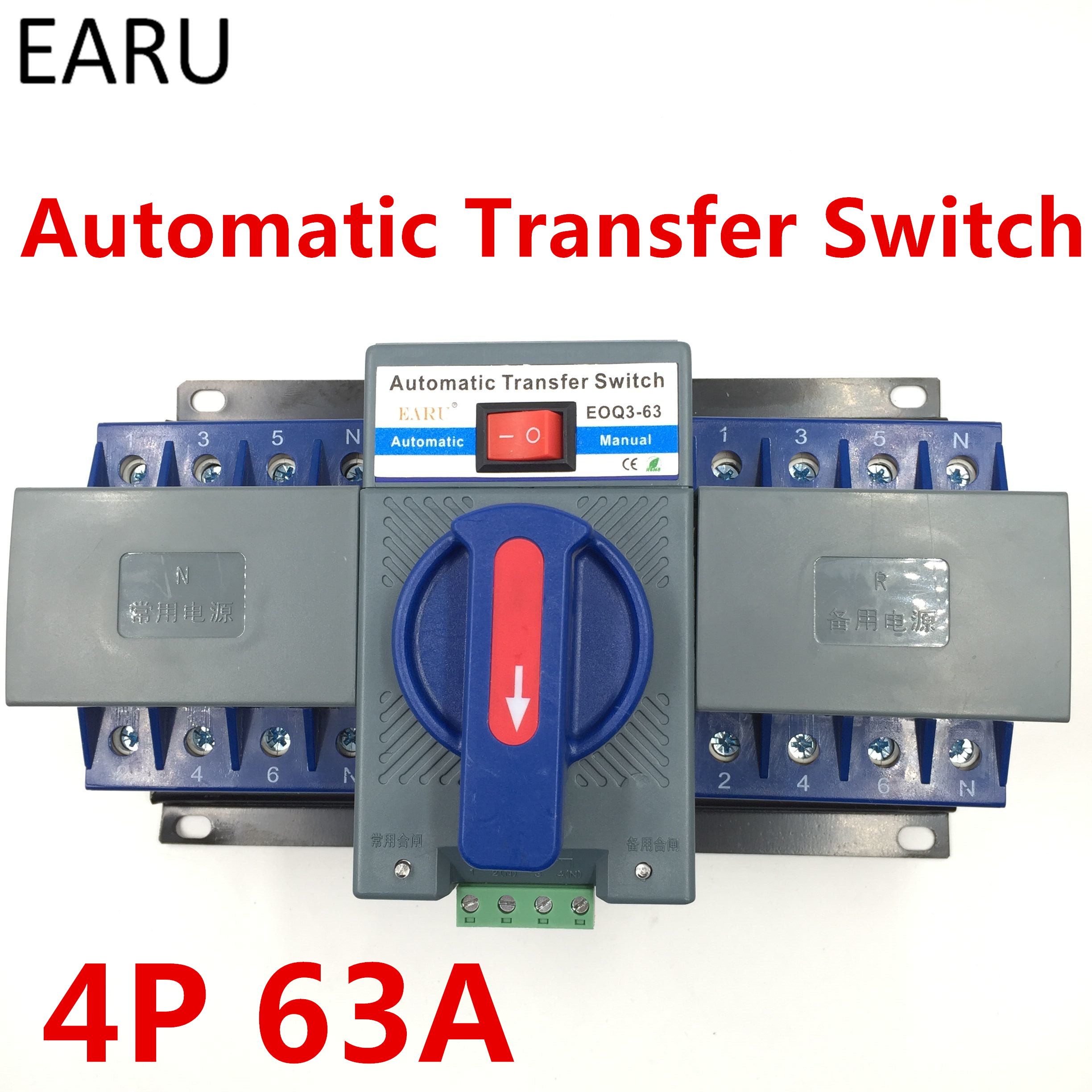 4p 63a 380v Mcb Type Dual Power Automatic Transfer Switch