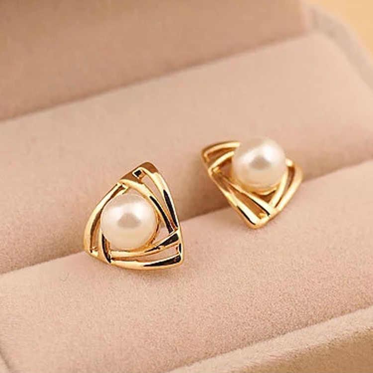 Thời Trang mới Pearls Earring 2016 Elagant Charming Tam Giác Mạ Vàng Trân Ear Stud Bông Tai Gift Lady Cô Gái Boucle D' Oreille