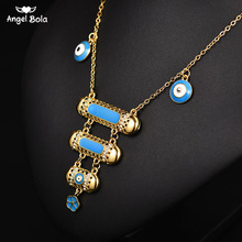 Blue Evil Eye Muhammad Necklaces Women Girl Gold Color Muslim Kurdish Chain Islam Middle East Kids/Child Allah Jewelry Gifts