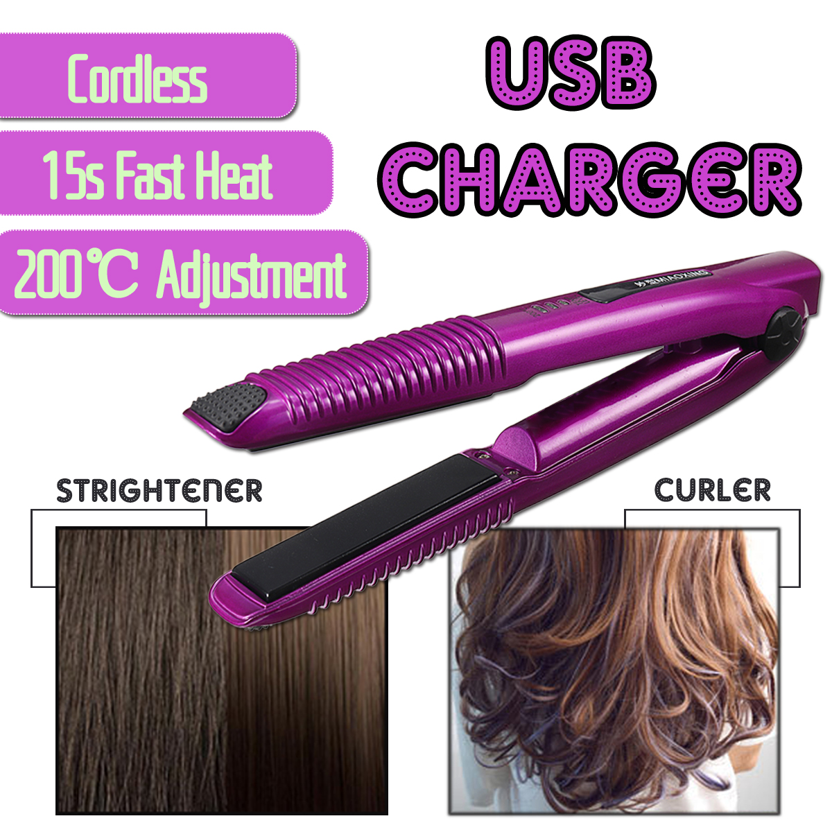 2-in-1 Hair Curling & Straightening Iron USB Rechargeable Curling Irons Professional Hair Curler Quality Hair Styling Tools EU 3 in 1 straightening corrugated iron ceramic hair straightener and hair curler professional curling wand iron hair styling tools