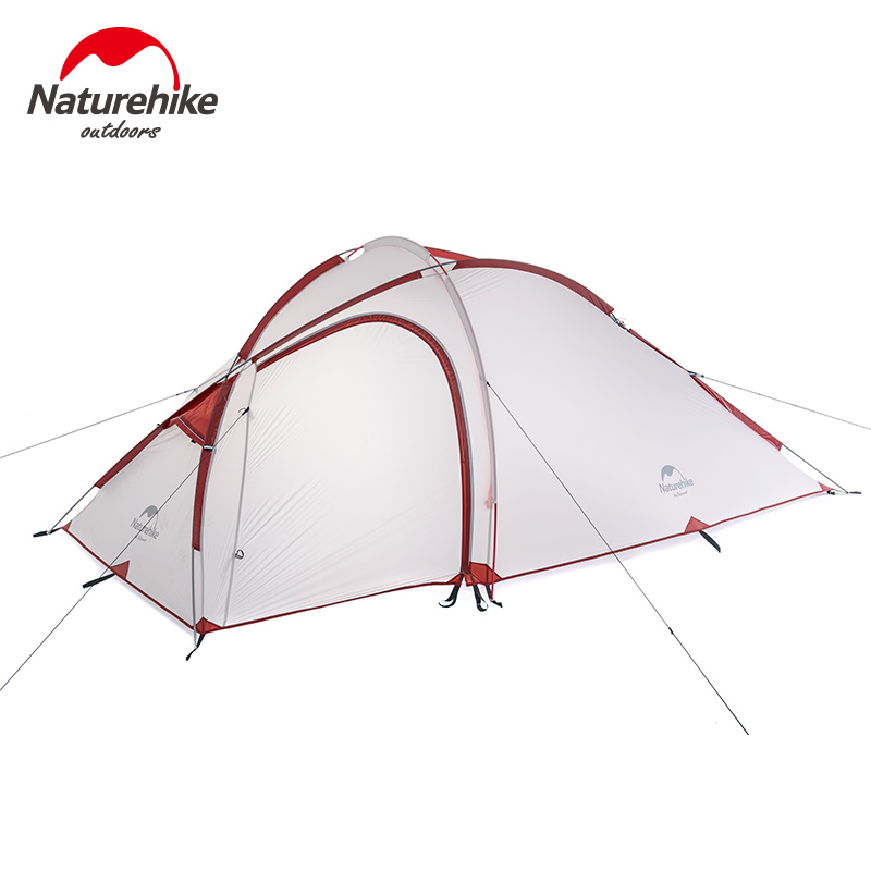Naturehike Camping Tent 3 Person 20D Silicone One Bedroom One Living Room Double Layers Rainproof NH Outdoor Tent 4 Season hillman 4 person camping tent with snow skirt double layer aluminum rod large tent one living room one bedroom family waterproof