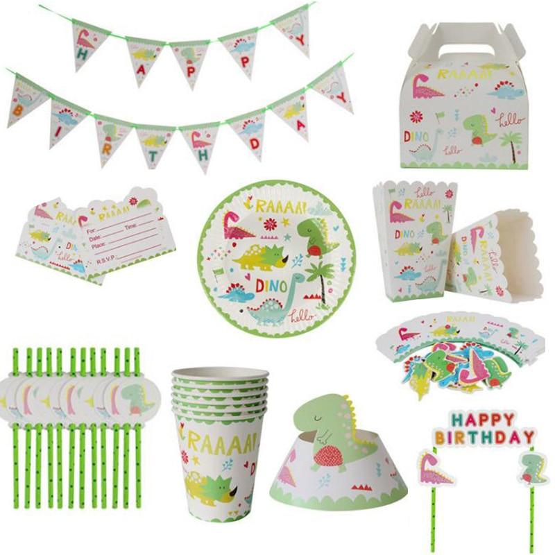 Динозавр тема набор столовых приборов для первого дня рождения украшения детей одноразовые бумажные тарелки чашки соломы для детского душ...