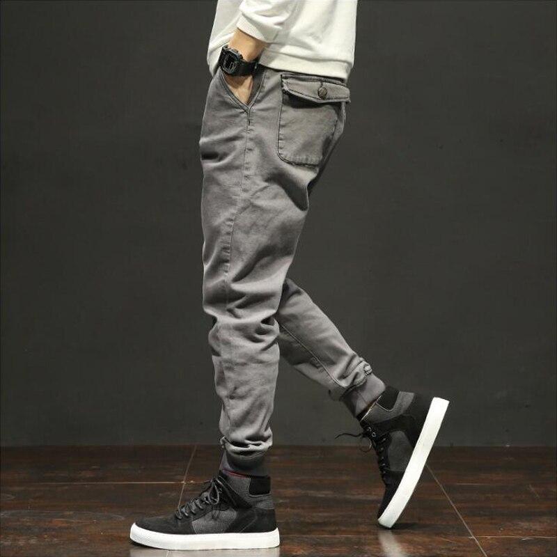 Autumn Fashion Classical Men Jeans Jogger Pants Gray Color Multi Pockets Cargo Pants Wild Military Ankle Banded Long Pants Men