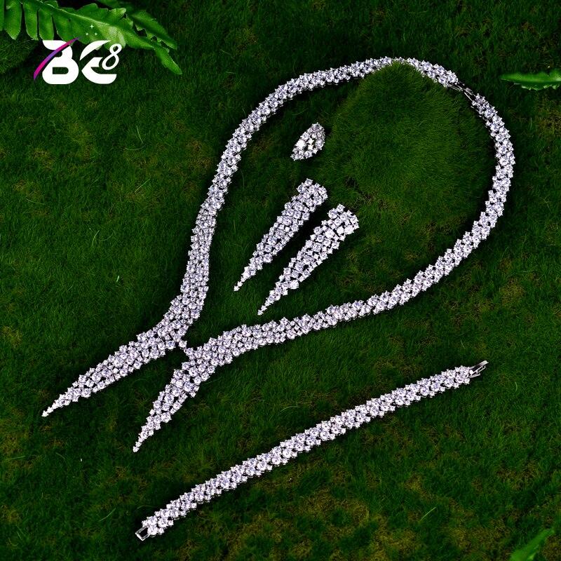 Be 8 Luxury Sparking Brilliant Cubic Zircon Drop Earring Necklace Heavy Dinner Jewelry Set Wedding Bridal