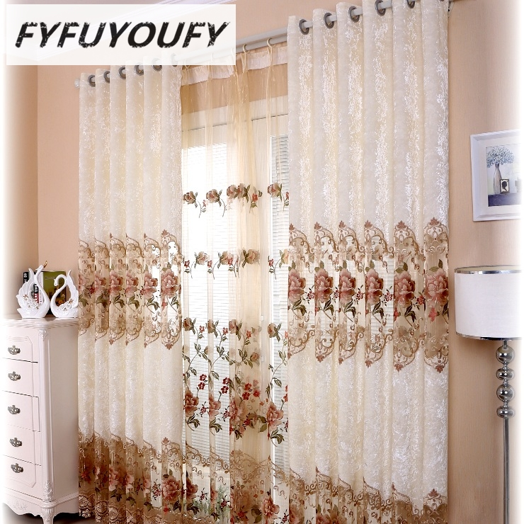 FYFUYOUFY High-grade embroidery curtains for living room bedroom Soft charpie the rose relief blackout curtain tulle curtains
