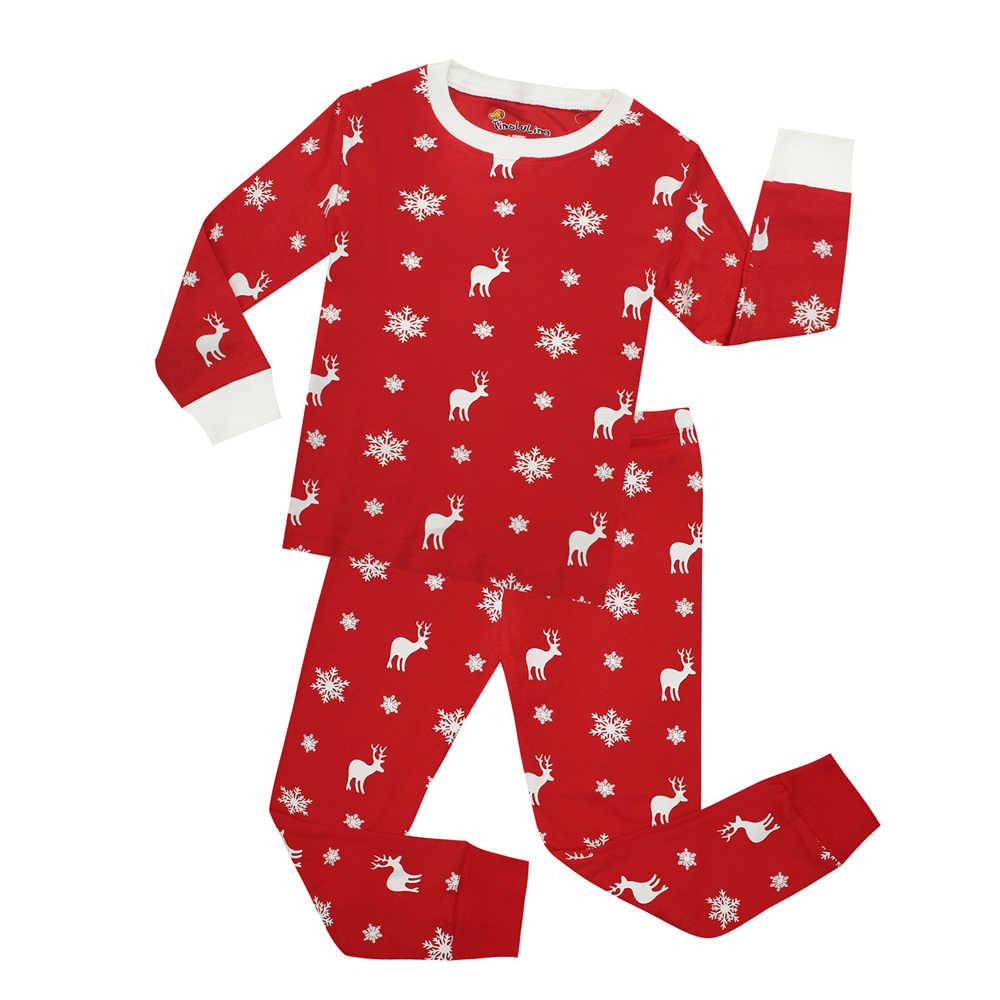 ... С длинным рукавом из хлопка для мальчиков Рождественская Пижама детская  одежда для сна для девочек Рождественская ... b2450092f89a1