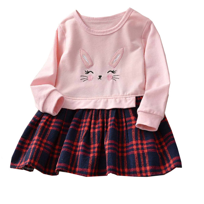 Kids Dresses Girl Baby Plaid High-Long-Sleeve Winter Causal Children for Clothes-Quality