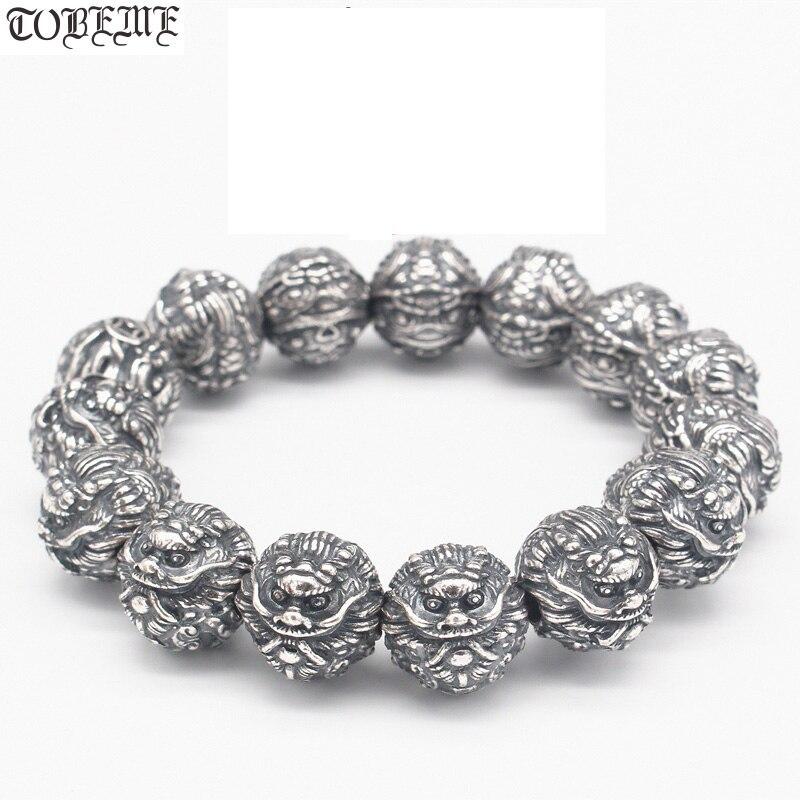 Fait main 100% 990 Argent Fengshui Puissance Dragon Perles Bracelet En Argent Pur Bonne Chance Dragon Bracelet Tibetain Bracelet Bracelet Mala