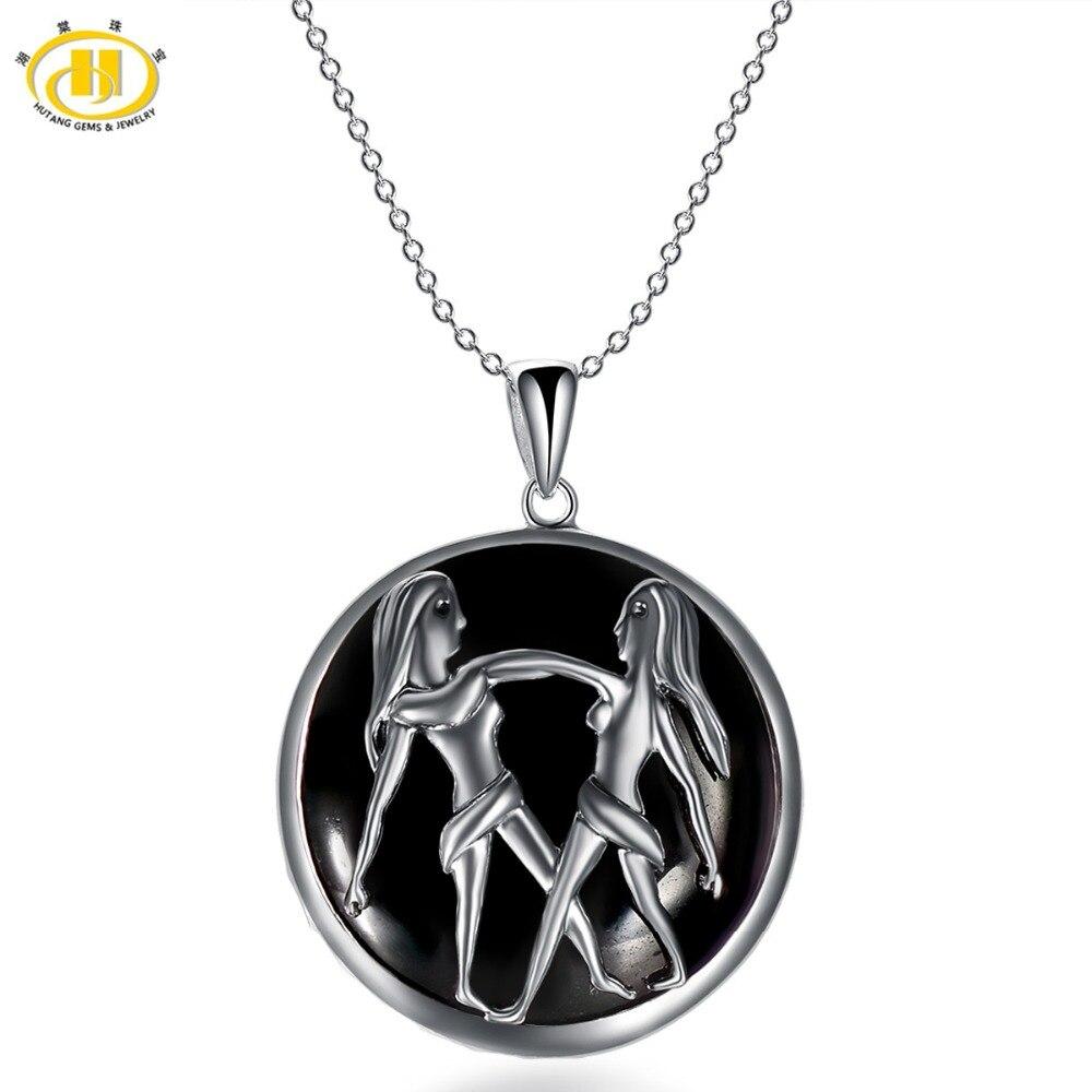 Hutang Gemini Zodiac Natural Black Jade 23mm Pendant Solid 925 Sterling Silver Necklace free chain Women's Men's Jewelry angel wight gemini zodiac isbn 9785448399503