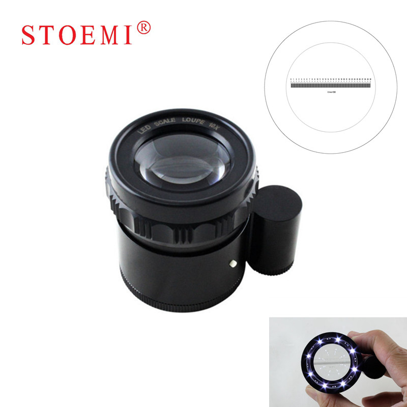 STOEMI 10X Portable Metal 8 LED Illuminated Focus Adjustable Cylindrical Loupe with Measure Scale Magnifier 6804-07 100x led illuminated focus adjustable zoom pocket microscope handheld magnifier loupe with reading scale 1div 0 02mm and lamp