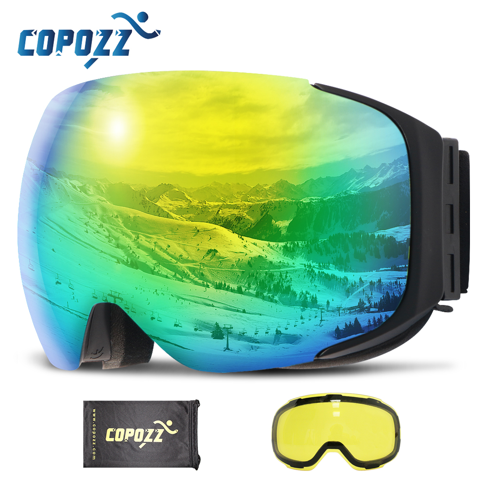 COPOZZ Frameless Magnetic Ski Goggles with Night Skiing Yellow Lens Anti fog UV400 Protection Snowboard Goggles