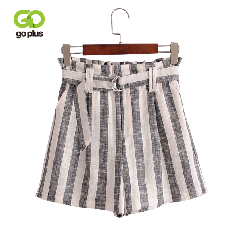 GOPLUS Self Tie Striped Shorts 2018 Summer High Waist Wide Leg Vacation Shorts Women Drawstring Cotton Linen Shorts C6019