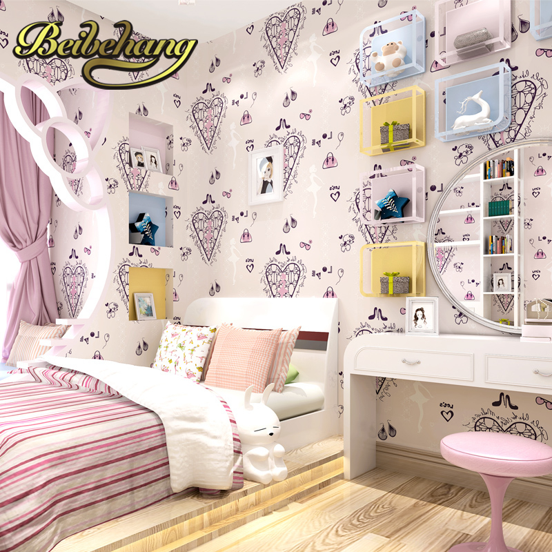 beibehang wall paper. papel de parede 3d wallpaper. Pune romantic ballet girl princess room bedroom Non-woven wallpaper children beibehang wallpaper high grade environmental protection non woven wallpaper girl boy room room striped wall paper car children