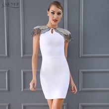 Adyce Fashion Bandage Dress 2018 Women Celebrity Evening Party Dresses Vestidos Sexy Beads Embellished Mini Runway Dress