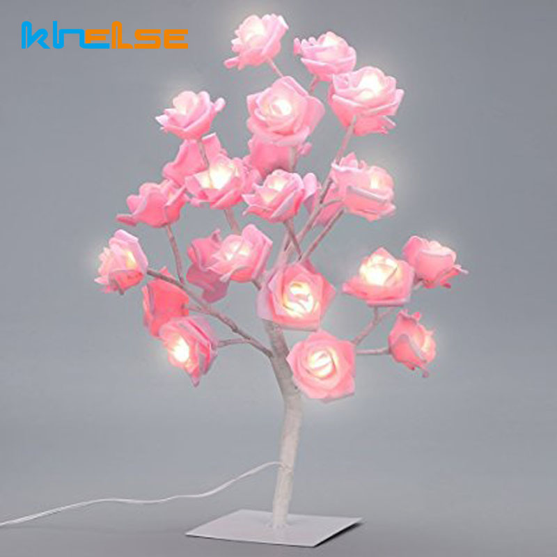 Rose Tree Bordslampa LED Garland Lights Justerbar Rosa Rose Flower - Festlig belysning